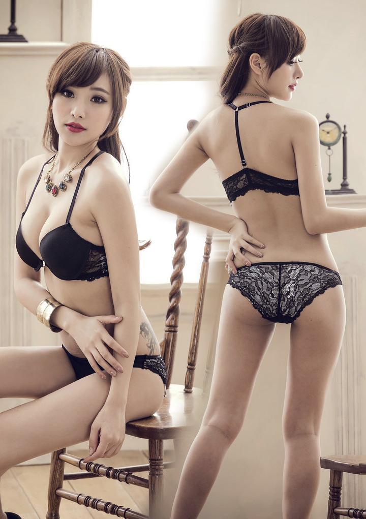 Charming Lace BeautyBack Push-Up Cup C Bra Set (Black)
