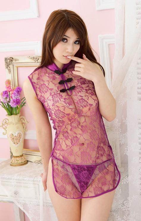 Charming Lace Perspective Short Cheongsam + Panties (Purple)