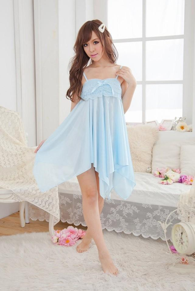 Charming Ribbon Ice Silk Sexy Lingrie (Light Blue)