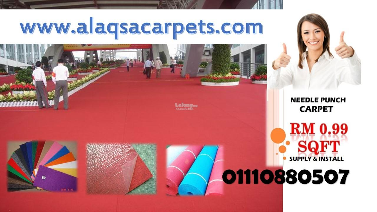 CHEAPEST NEEDLE PUNCHED OFFICE CARPET at RM0.99/sqft-siap pasang