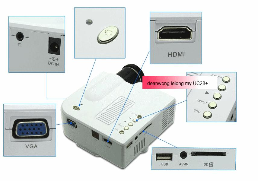 Cheapest UC28+ HDMI Mini Projector SD/AV/VGA/USB for game, Phone FOC