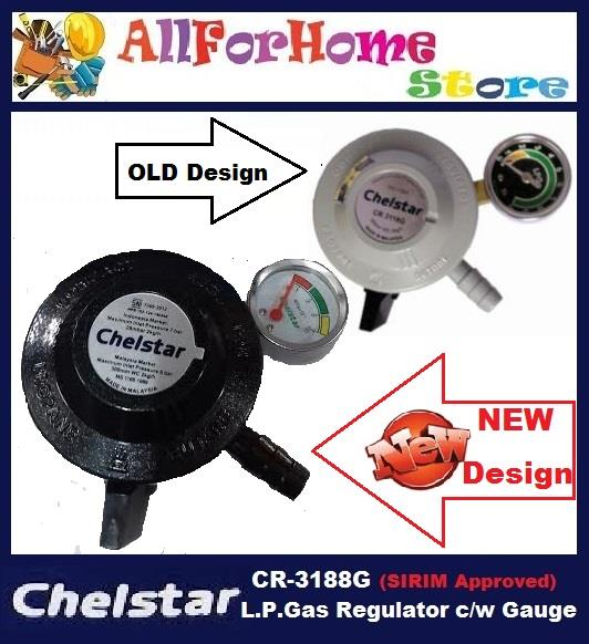 CHELSTAR L.P.G Gas Regulator c/w Pressure Gauge (SIRIM Approved)