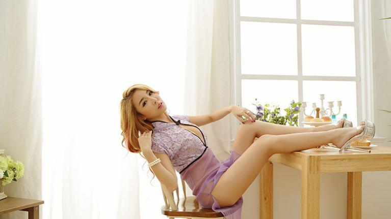 Cheongsam Style Transparent Long Lace Lingerie Purple YE517