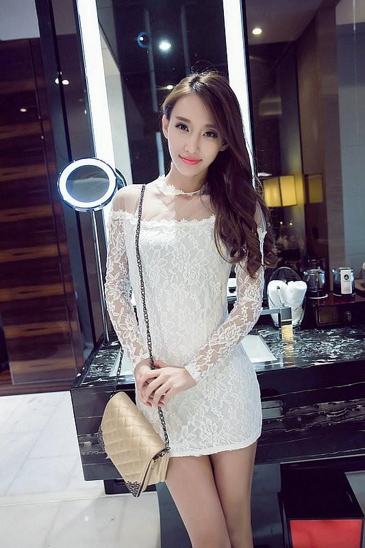 Chiffon Lace Mesh Bodycon Dress (iKR051540)