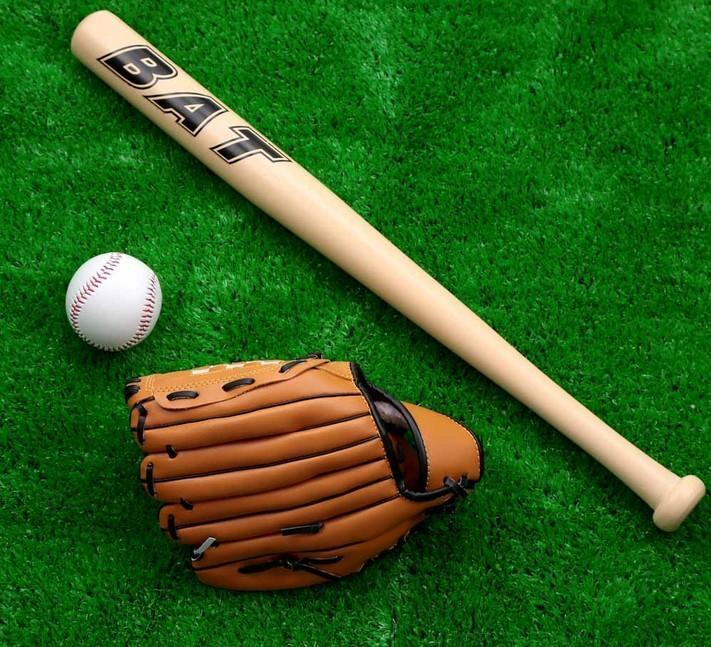 Children Practice Baseball Set Wooden Bat Glove Ball Softball Sport
