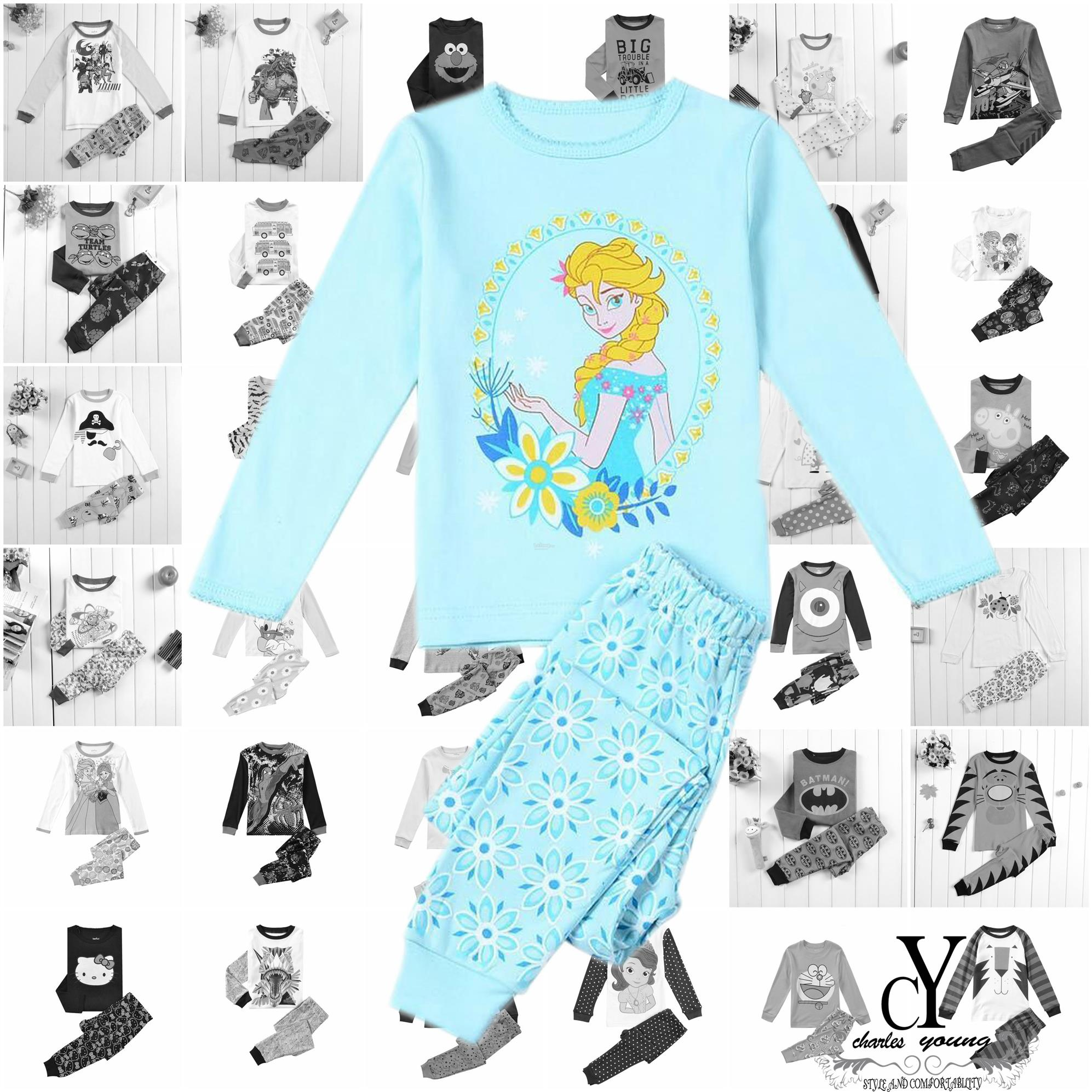CHILDREN,PYJAMAS,PASANG,TIDUR,CARTOON,DISNEY,COTTON,FROZEN,ELSA,ANNA
