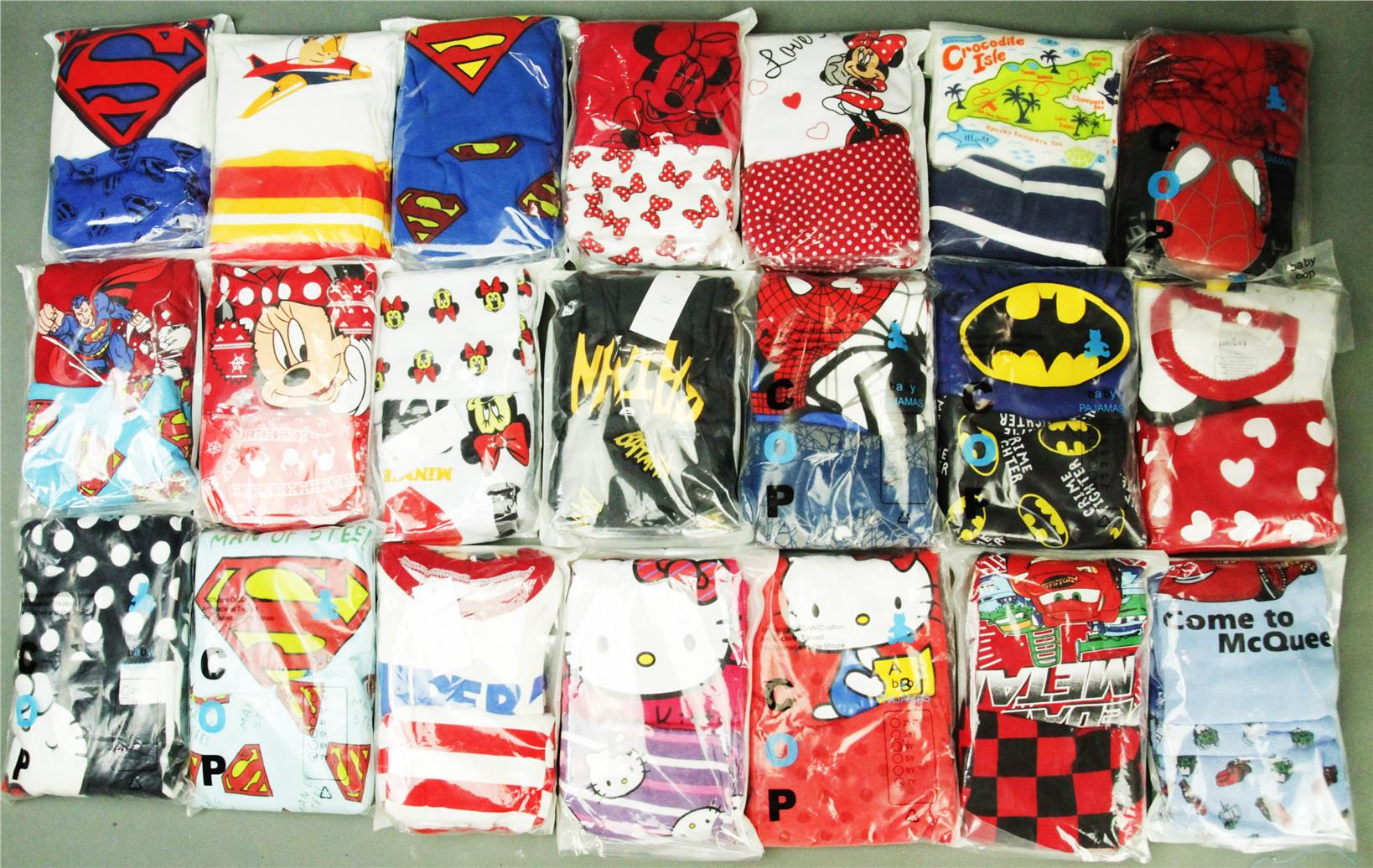 CHILDREN,PYJAMAS,PASANG,TIDUR,CARTOON,DISNEY,COTTON,SPIDERMAN
