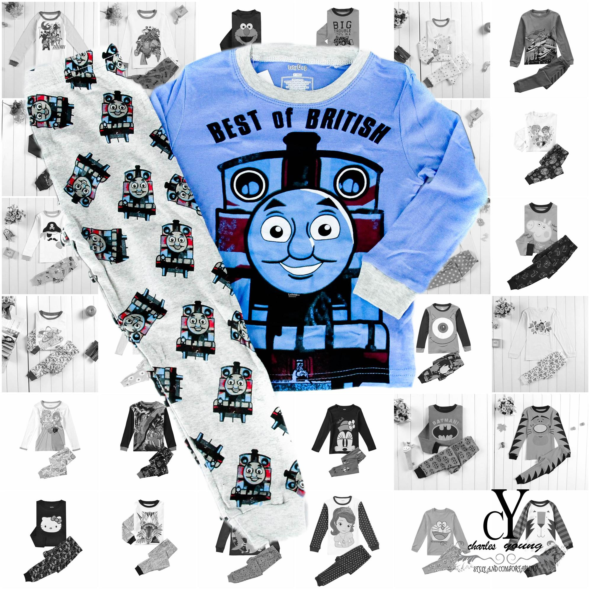 CHILDREN,PYJAMAS,PASANG,TIDUR,CARTOON,DISNEY,COTTON,THOMAS,TRAIN