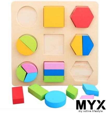 Children Wooden Jigsaw Puzzle Geometry Shape Matching Building Blocks