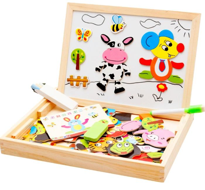 Chinese Zodiac Wooden Magnetic Puzzle Learning & Drawing Board for Kid