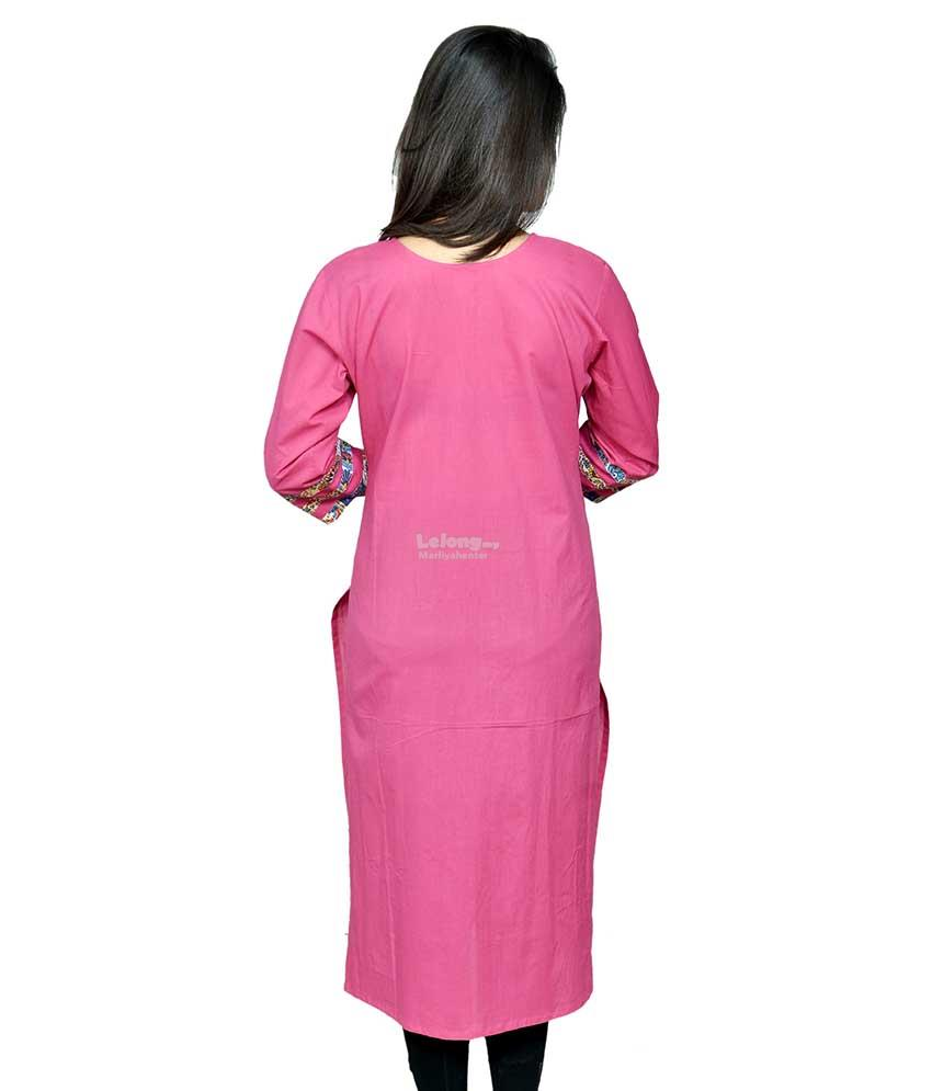 Chitrambra Pink Cotton Straight Kurti