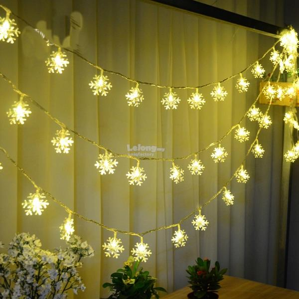 Christmas Snowflake Waterproof Battery LED Flash Lights String Decor