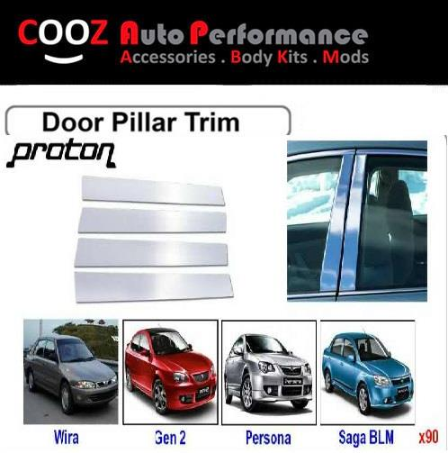 CHROME DOOR / WINDOW  PILLAR POST TRIM COVERS  FOR PROTON SAGA BLM