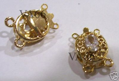 Clasp 2 Rhinestone 2-strand Gold Plated Clasps