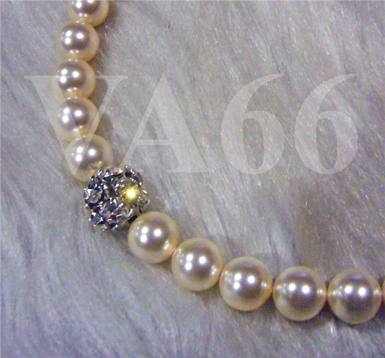 Classic Pearl Necklace Fireball Cream Ivory 18KGP 8mm Swarovski Colors