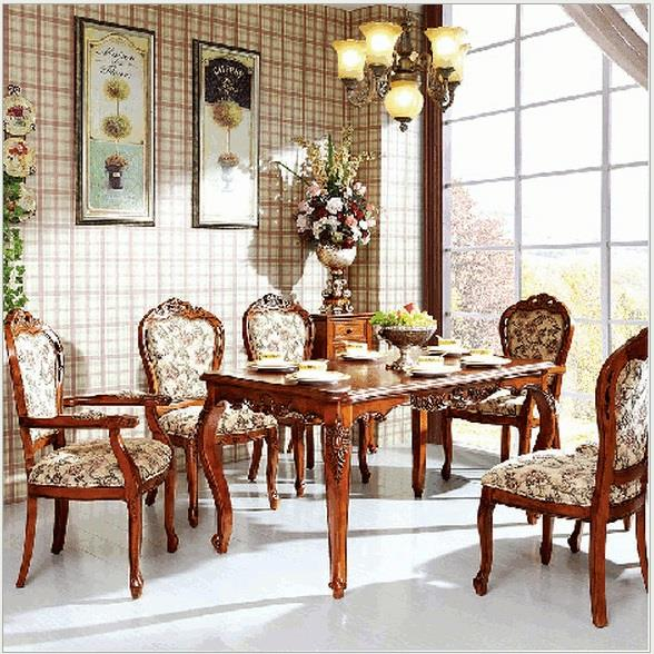 Western Dining Table Sets ~ Classic western antique carved oa end  pm