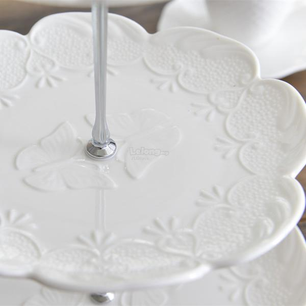 Classy White Butterfly English 3 Tier Cake Dessert Stand Cake Stand