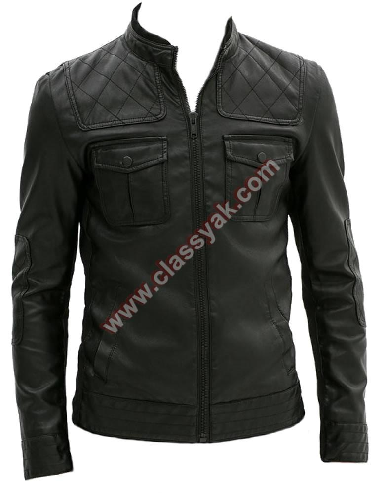 Classyak Men Fashion Real Leather Moto Jacket Black Sheep Leather