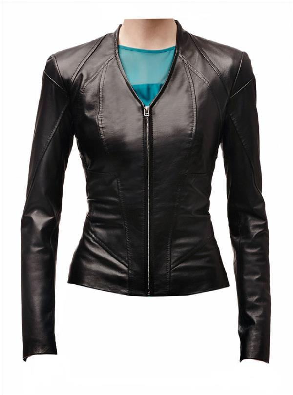 Classyak Women Fashion Leather Jacket Black Water