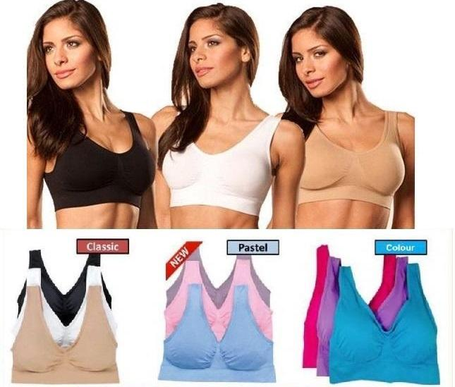 Clearance - 3 PCS SEAMLESS GENIE BRA WITH REMOVABLE PADS