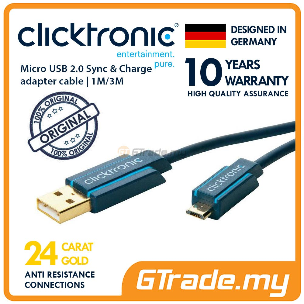 CLICKTRONIC Charger Micro USB Cable 1M Sony Xperia Z5 Premium Z3 Z2 Z1