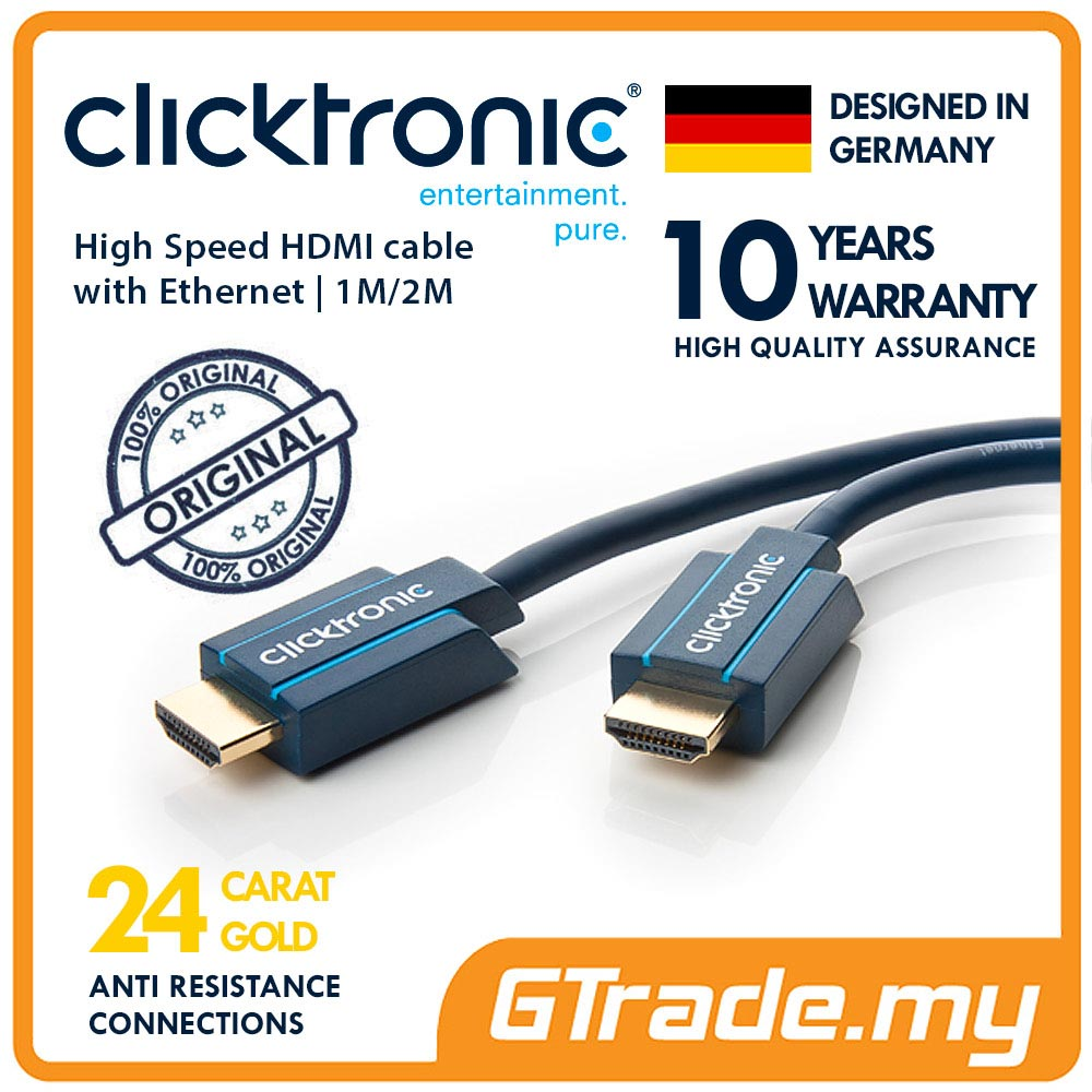 CLICKTRONIC High Speed HDMI with Ethernet Ultra HD 3D TV Cable 2M