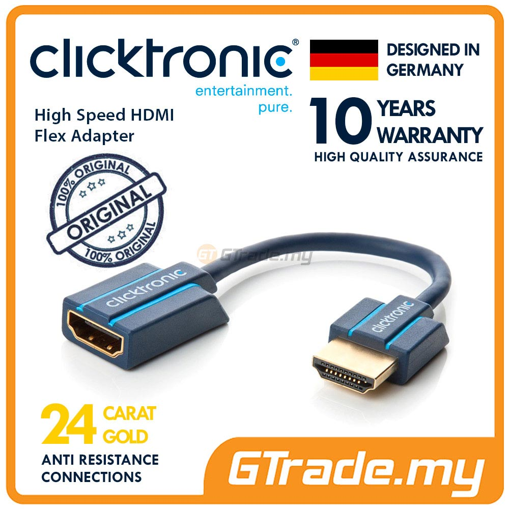 CLICKTRONIC High Speed HDMI Flexible Adapter for narrow TV space