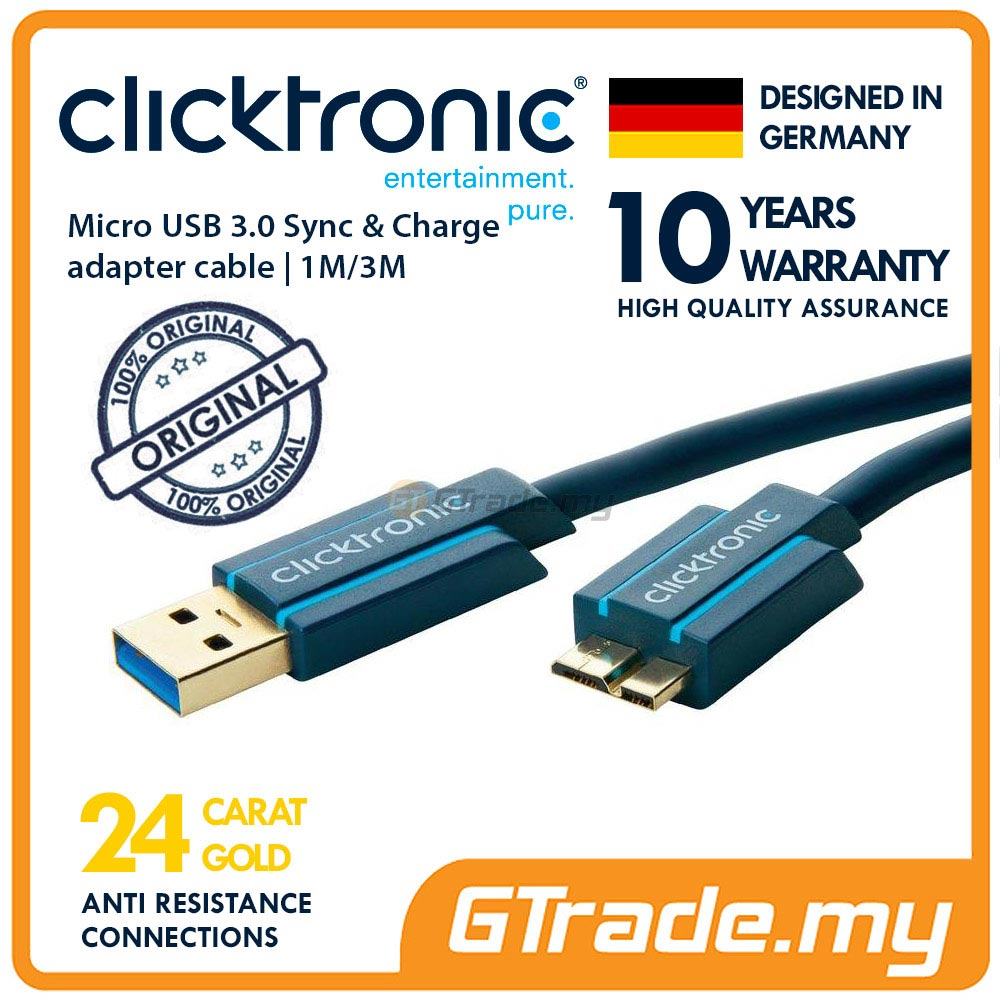 CLICKTRONIC Sync Charger Micro USB 3.0 Cable 1M Samsung Note 4 S5