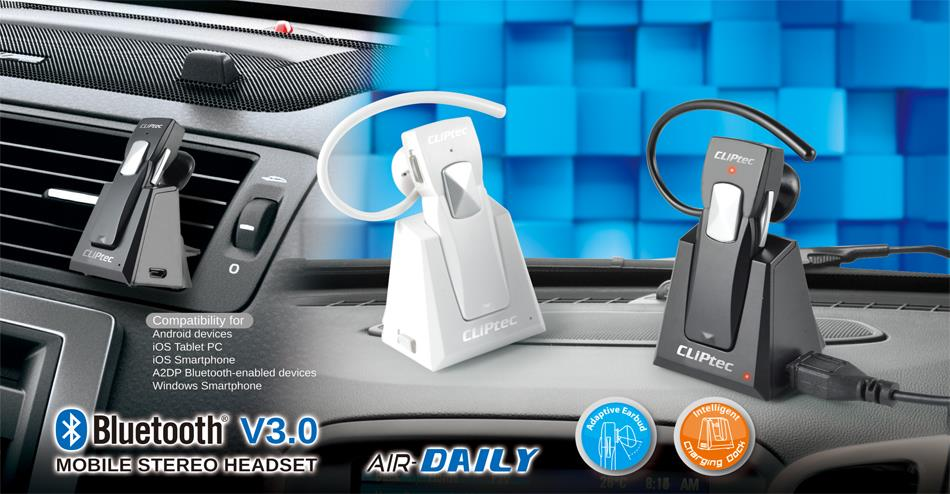 CLiPtec AIR-DAILY Bluetooth 3.0 Mobile Stereo Headset