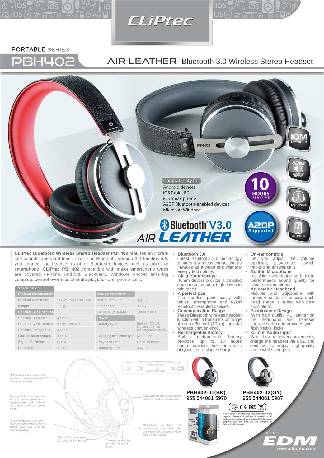 cliptec air leather bluetooth wireless stereo headset headphone pbh402 11street malaysia. Black Bedroom Furniture Sets. Home Design Ideas