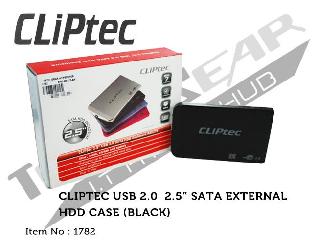 CLIPTEC USB2.0 2.5' SATA EXTERNAL HDD CASE (BLACK)