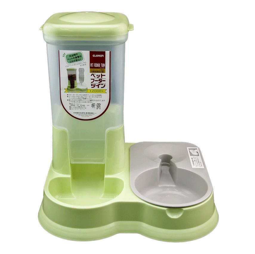 Clover Auto Twin Pet Food and Water Feeder Fountain Bowl Dish Dispense