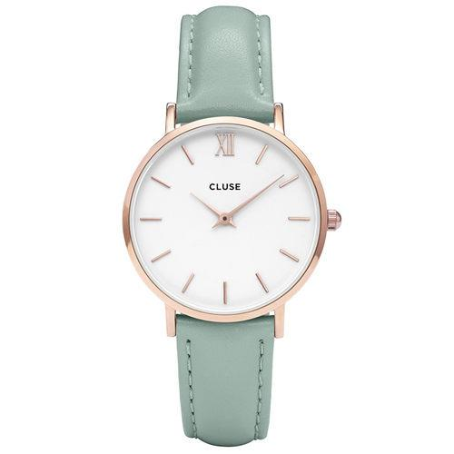 CLUSE Minuit Rose Gold White/Pastel Mint Leather Watch 38mm