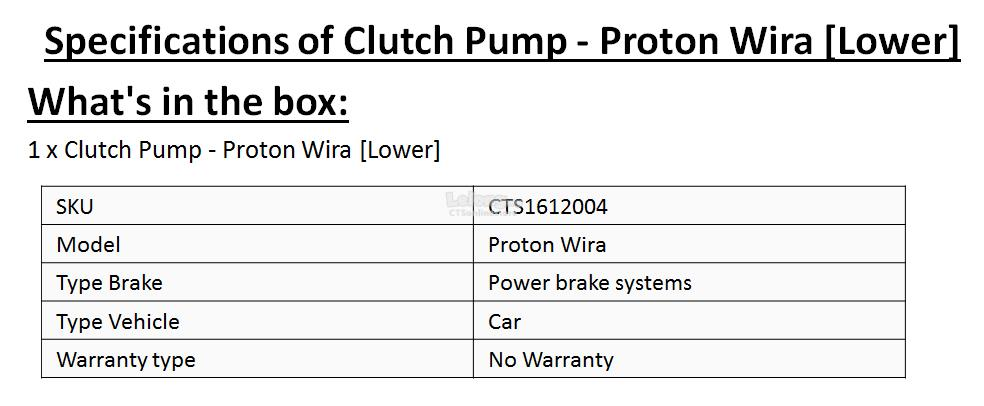 Clutch Pump - Proton Wira [Lower]