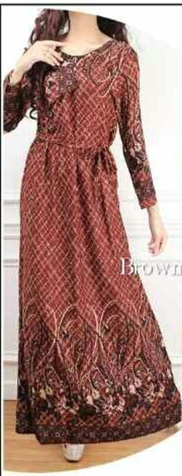 [CM1108BN] Women Muslimah Fashion Elegant Jubah Dress Brown