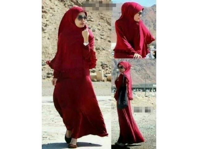 [CM1112] Women Muslimah Fashion Elegant Charming Jubah Red