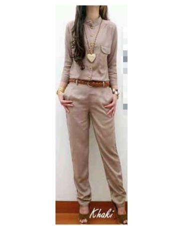 [CM11251K] Women Muslimah Stylish Jumpsuit Khaki