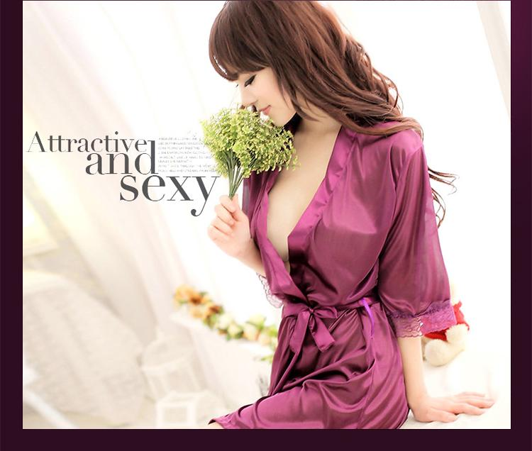 [CM3411PP] Stylish Women Fashion Sexy Robe Purple