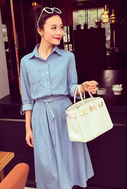 [CM36294LB] Fashion Denim Maxi Dress Light Blue