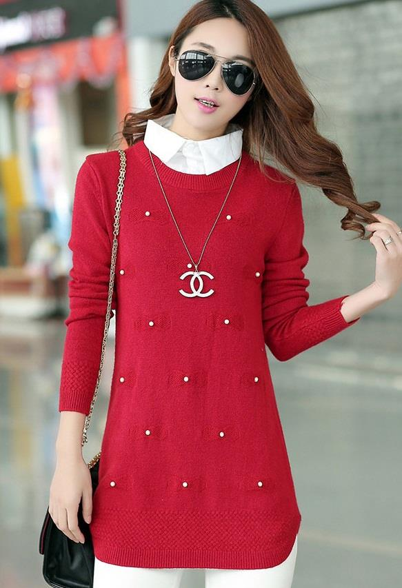 [CM37207R] Fashion One Piece Knit Top Red