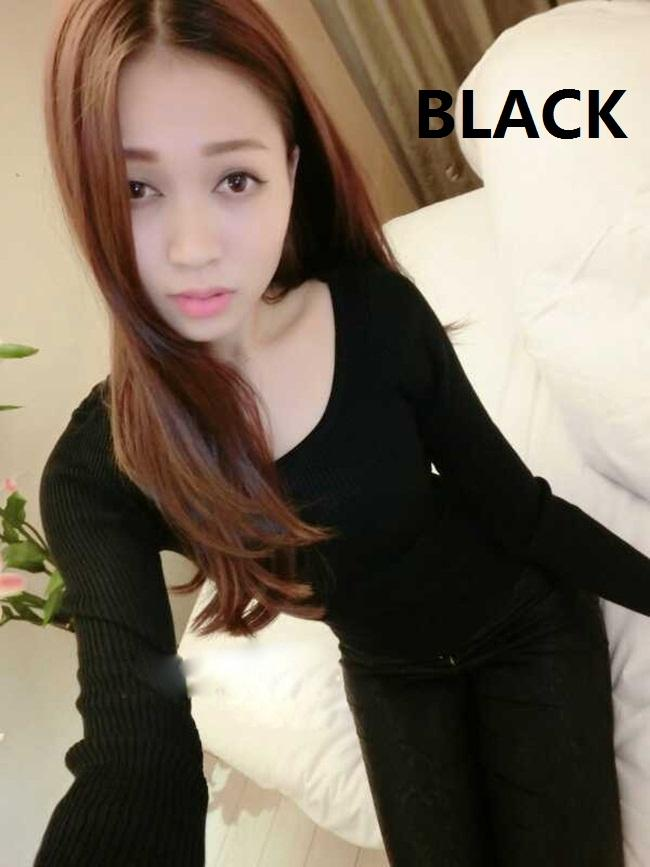 [CM5223B] Korean Elegant Woman Casual Sexy Stylish Top Black