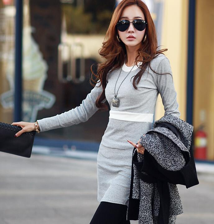 [CM5470G] Korean Elegant Woman Casual Travel Holiday Dress Grey