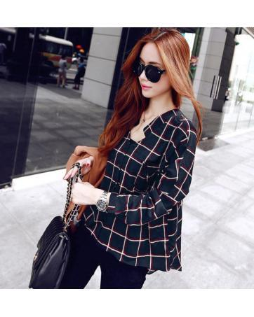 [CM5482] Korean Elegant Woman Casual Checker Top As Picture