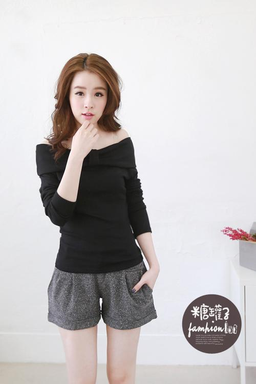 [CM5530BK] Korean Elegant Woman Casual Travel Sweet Top Black