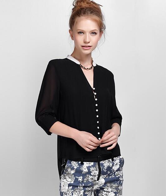 [CM5535BK] Europe Korean Elegant Woman Casual Travel Top Black