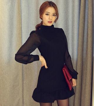 [CM5629] Woman Sexy Elegant Korean Office Dinner Dress Black
