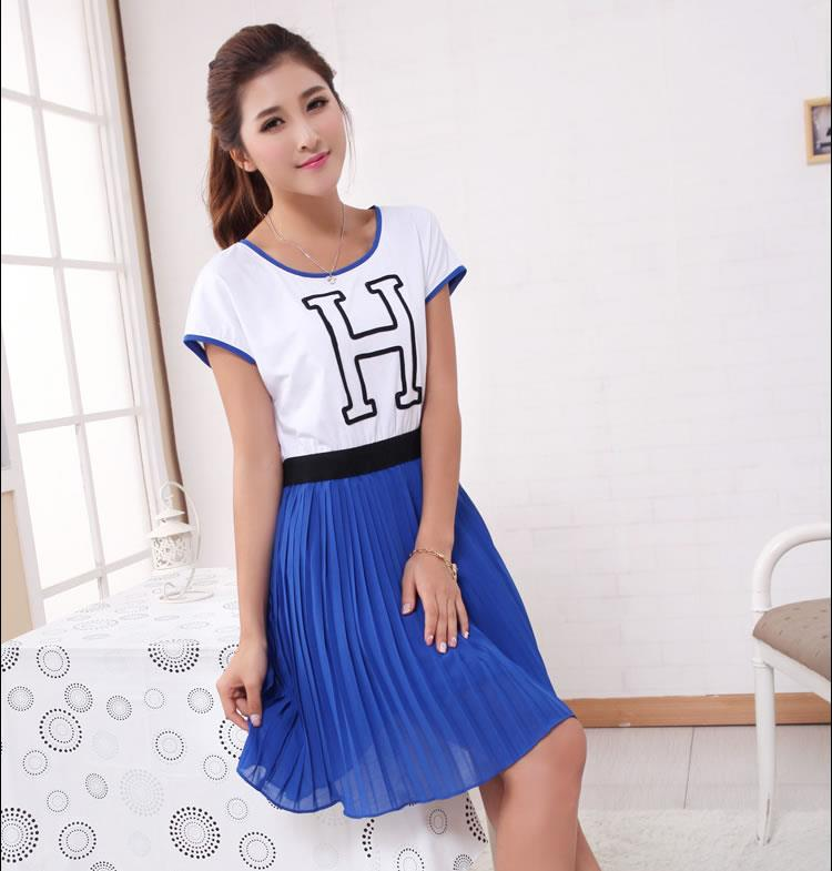 [CM5662] Korean Elegant Woman Casual Travel Dress As Picture
