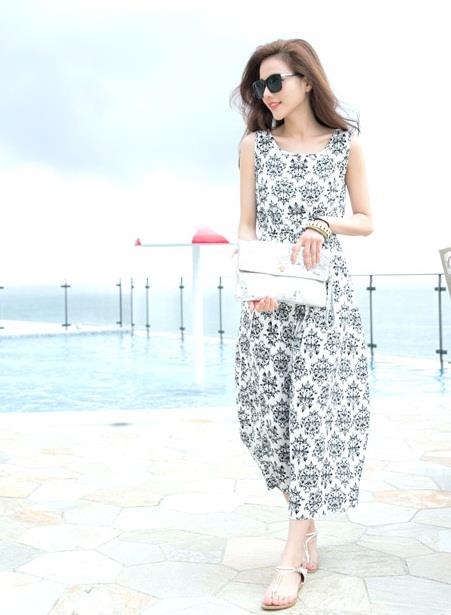 [CM5666W] Korean Elegant Woman Casual Travel Holiday Dress White