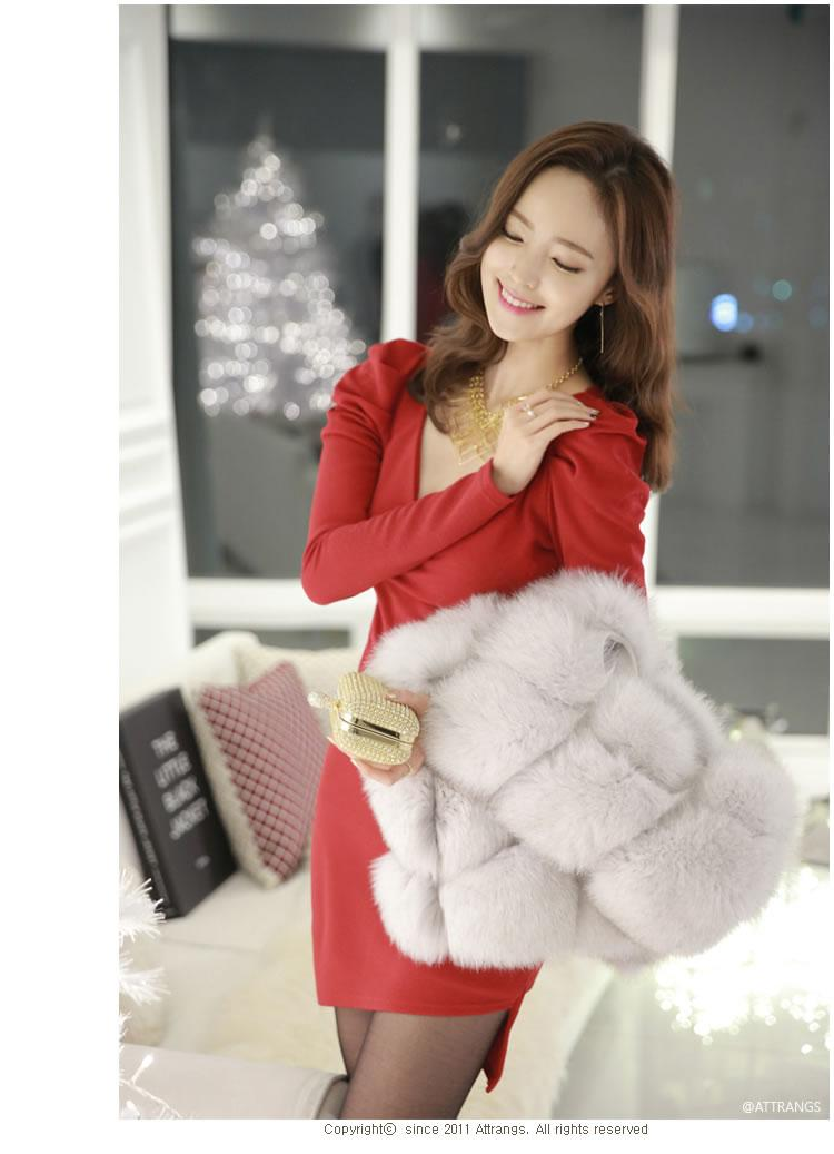 [CM5746R] Woman Sexy Elegant Korean Office Charming Dress Red