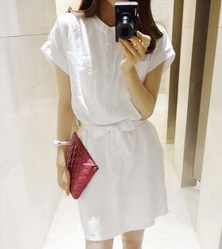 [CM5904W] Fashion Woman Elegant Working Office Wear Dress White